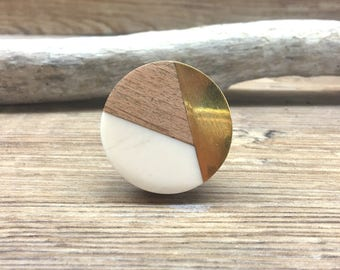 Tricolor Ivory, Distressed Brass, and Natural Wood Knob - Round Wood and Cream Resin Wooden Knob - Modern Abstract Drawer Pull