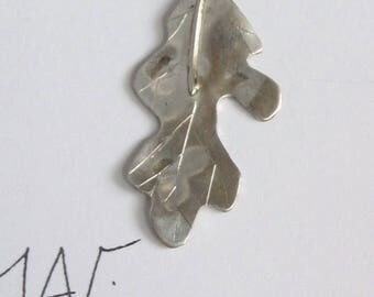 Hand formed sterling silver oak leaf with fine silver chain