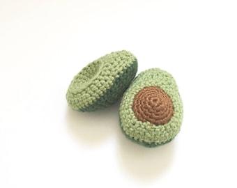 Crochet Pretend Avocado | Crochet Fake Food Kitchen Toy | Knit Avocado Toy