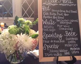 Custom Handwritten Bar Menu -- Wedding/Bridal Shower/Party/Special Event Sign