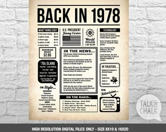 Back In 1978 Newspaper-Style DIGITAL Poster, 40th Birthday PRINTABLE Sign, 40th Birthday Poster, 40th Birthday Gift, 1978 Sign, 1978 Poster