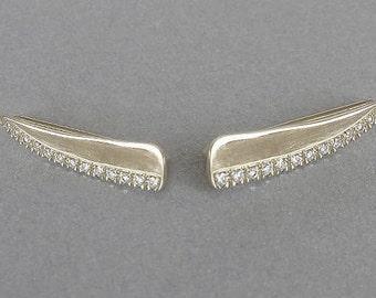 White Gold Diamond Ear Climber, Gold Ear Climber, Gold Pave Ear Cuff, Diamond Pave Ear Cuff, Gold Pave Ear Crawler, Diamond Pave Ear Crawler