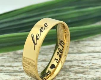 6mm Gold Plated Stainless Steel Ring, Engraved Date Ring, Couples Names Ring, Roman Numeral Ring, Coordinates Ring, Couple Promise Ring