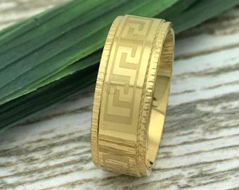 8mm Gold Greek Key Stainless Steel Ring, Engraved Date Ring, Couples Names Ring, Roman Numeral Ring, Coordinates Ring, Couple Promise Ring