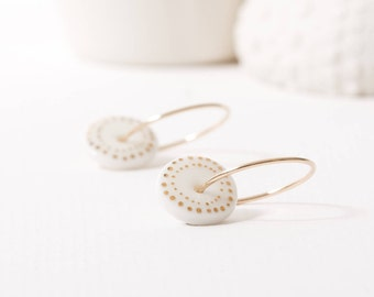 Porcelain Hoop Earring - Gold Dots Hoops - Gold Hoops - Dotty Earrings - Gold and White Jewellery - Everyday Earrings - Spotty Jewellery
