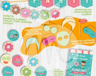 Spa & Donuts Printable Kit. Kawaii. Invitación, banderines, photo booth props. Con textos editables. Descarga ya! INSTANT DOWNLOAD!