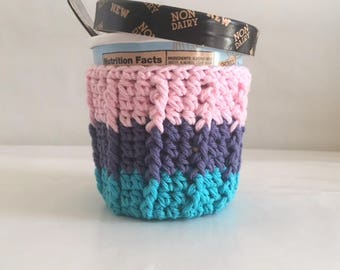 Ice Cream Cozy for Pint Size Container  Party Favor 100% Cotton Crochet Cozy Pink, Purple, Turquoise Ready to Ship