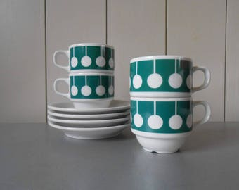 Vintage 1970s Coffee Cups and Saucers by SELTMANN WEIDEN Bavaria West Germany in White Green. German Retro Mod 70s Op Art Design Print.