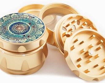 "Blue Mandala Herb Grinder 4 Piece Gold  2.25"" Wide Diamond Cut Blades Premium four part Grinders Golden - Gift box!"