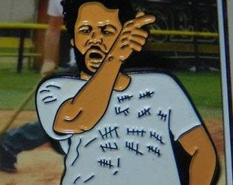 Wade Boggs Style Pin and Baseball Card Charlie Kelly IASIP