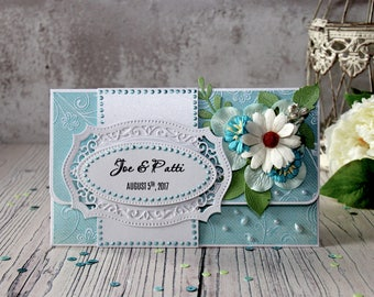 Personalized Wedding Gift - Wedding Gift Card Holder - White and Blue Congratulations Card - Unique Gift for Wedding - Gift For Couple