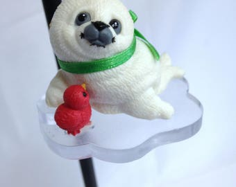 Vintage Baby Seal Christmas Ornament Vintage Morehead Ornament for Christmas Tree 1993 Endangered Series Young'uns Seal & Bird on Ice Block