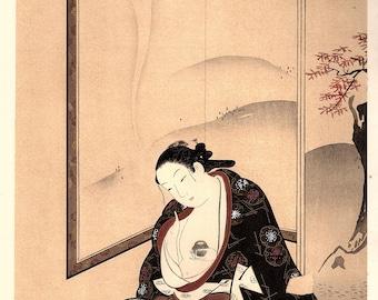 "1906, Japanese antique woodblock print, Miyagawa Choki, ""美人薫衣図"", from Ukiyoe-ha-gashu."