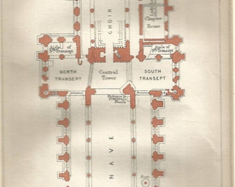 1917  ripon cathedral  floor plan antique  print vintage wall decor