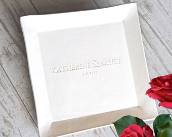 "PERSONALIZED PLATTER custom WEDDING gift name date engraved 12X12"" serving tray, anniversary pottery engagement gift, guest signature plate"