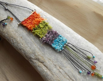 Silk Necklace Hand Woven - mini Weaving with Silk, Sterling Silver & Gems - Rainbow Colors - textile jewelry - fiber art necklace***