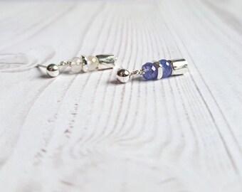 Moonstone and Tanzanite earrings. Small dangle earrings, with gemstones. Silver earrings for girl. Handcrafted earrings, gitfs for her