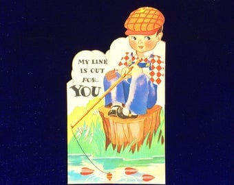 1920's Carrington Co. Valentine w Fishing Pole Boy