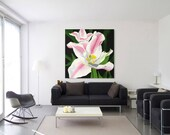 Large wall painting,  acrylic oil art canvas,  original flower artwork, Lily Georgia O'keeffe style