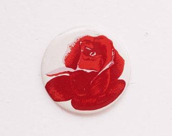 Vintage 4 cm 1.57'' rose flower nature romantic anniversary soviet pin brooch badge token clasp pinion tin aluminum cordon band medallion