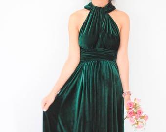 Green Velvet Dress, Bridesmaid Dress, Infinity Dress, Prom Dress, Convertible Dress, Wrap Dress, Long Dress, Eveing Dress, Ball Gown
