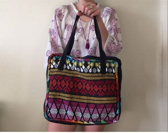 Vintage Tribal Tote Bag - Embroidery Aztec Shoulder Laptop - Hippie Boho Colorful Tribal Print Purse - Cotton Tote - Peruvian Embroidered