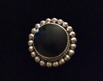 Vintage Mexico Sterling Silver and Onyx Pendant Pin