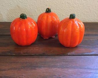 Set of Three Pumpkin Candles / Vintage Halloween