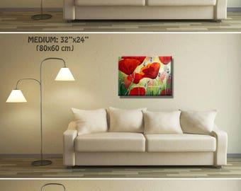 Large Art Print, Flower Wall Decor, Poppy Art, Wall Decor, Flowers Extra Large Wall Art, Red Art, Red Poppy Art Extra Large Canvas