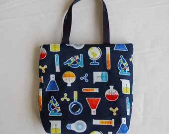 Science Fabric Gift Bag/ Science Party Favor Bag- Chemistry Lab on Navy Blue