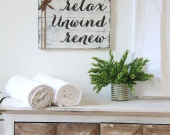 "RUSTIC BATHROOM DECOR, 14x12"", farmhouse bathroom, unwind sign, relax soak unwind, wood relax sign, rustic bathroom signs, fixer upper style"