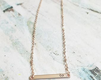 Skinny Rose Gold Bar Necklace - Heart Necklace - Rose Gold Necklace - Rose Gold Bar Necklace - Stamped Bar Necklace - Minimalist Necklace