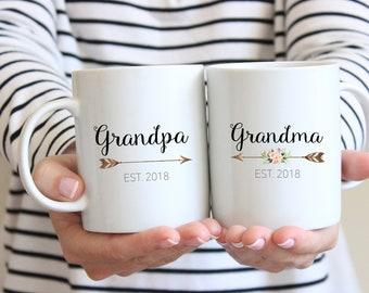 Gift for Grandparents, Mug Set, Grandma Mug, Grandparent Gift, Pregnancy Reveal Mug, new grandparents, Grandpa mug,