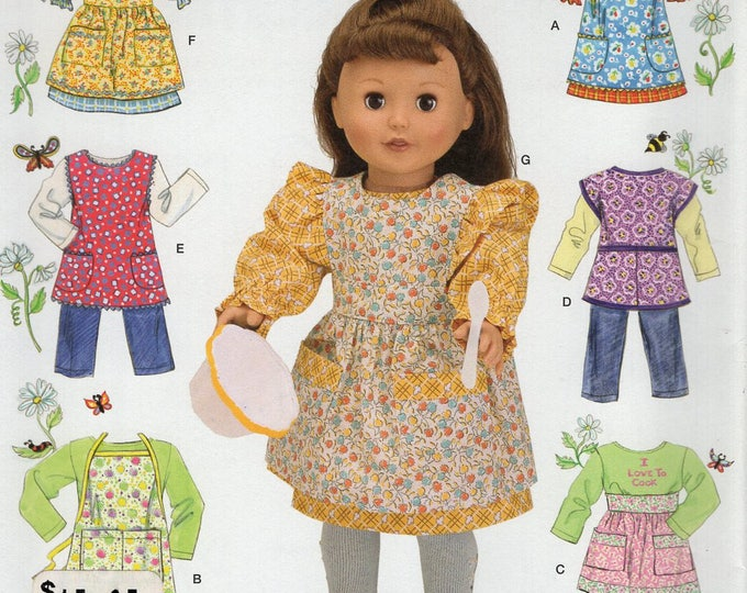 """Simplicity 2761 Free Us Ship 18"""" Doll Clothes Sewing Pattern Wardrobe Brand New Uncut Out of Print Pinafore Apron Dress Top Pants"""