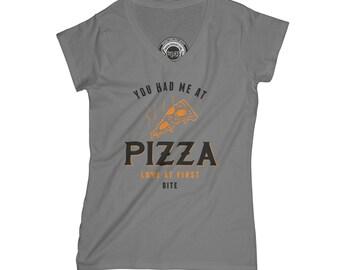 Pizza shirt hipster v neck t shirt funny t-shirt food t-shirt anniversary gift matching couple shirt funny couple wife gift APV54