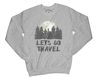 Wanderlust sweatshirt travel sweatshirt adventure sweater crew neck sweater moon sweatshirt forest sweatshirt APV55