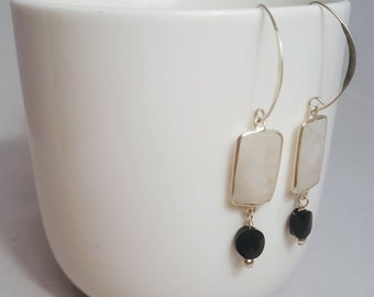 Sterling Silver and Moonstone Dangle Earrings/Black & White