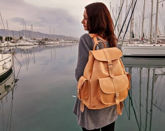 Extra Large Leather Backpack - Full Grain Leather Travel Backpack. College Satchel for Men and Women - Leather Rucksack Handmade in Greece.