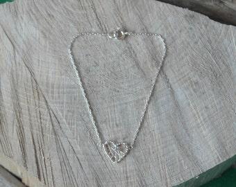 Vintage Sterling Silver Woven Love Heart Bracelet