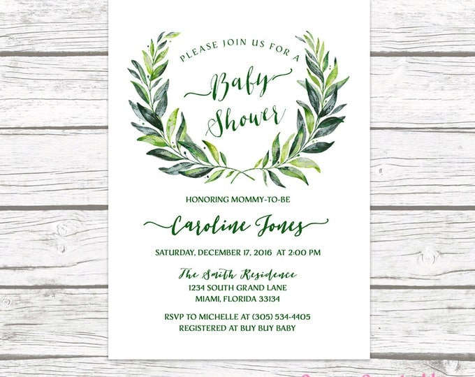 Green Baby Shower Invitation, Leaf Baby Shower Invitation, Laurel Baby Shower Invite, Gender Neutral Baby Shower Invitation, Wreath Invite