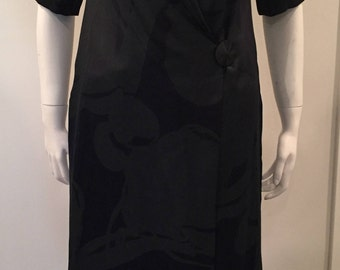 Vintage Chloe Silk Multiprint Front Wrap Button Dress Made in France sz M