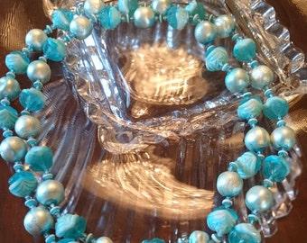 Vintage Double Strand Aqua Necklace/ Aqua Pearls/