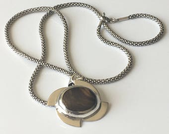 Tigers eye pendant sterling silver necklace, 925 necklace, Tigers eye necklace