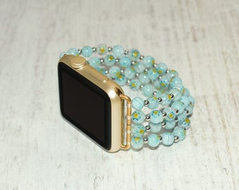 Lampwork Glass Beads apple watch band 42mm / 38mm // apple watch strap - iwatch band accessories - iwatch strap adapter - no-clasp
