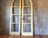 Deposit for Antique Double Doors,salvage,weathered,aged,rustic,worn decor,panel divider,Farmhouse,Glass Doors,European,Chippy Paint