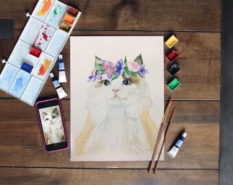 Add flowers to your custom pet portrait. Fluff'n'Foliage portrait. Watercolor. Original. Your dog/cat/pet