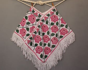 Mexican poncho - Embroidery - Cross Stitch - Sweater - Warm - Vintage - Ethnic