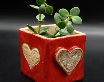 Red Fused-Glass Square Planter