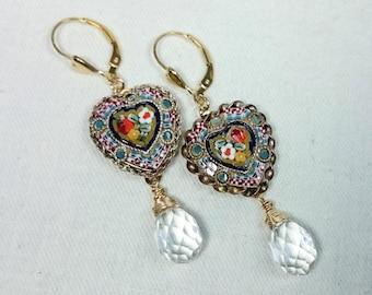 Valentine Heart Shape Micro Mosaic Earrings, 14K Gold Filled, Grand Tour, Italian Souvenir Jewelry