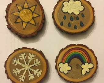 Weather Magnet Set, Stocking Stuffer, Gift Idea, Under 15, Hand Painted Magnets, Wood Magnets